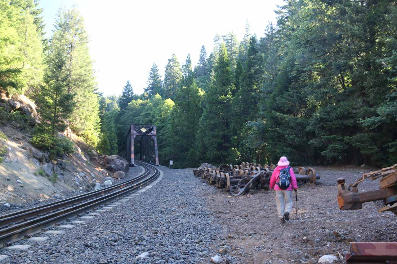 This clearing with some railroad artifacts preceded the tressel bridge.  We didn't need to cross the tressel as there was a trail of use to our right that led right down to Mossbrae Falls