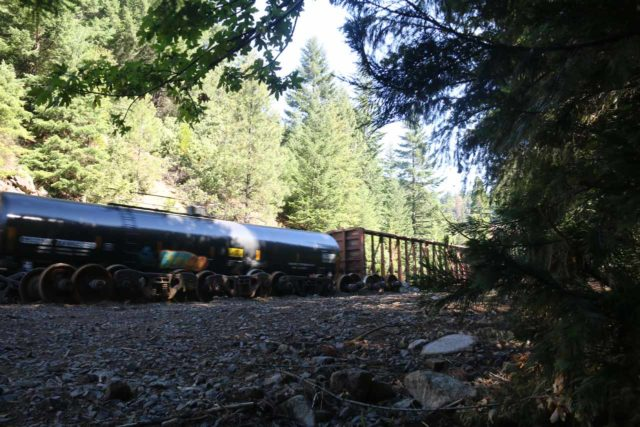 Mossbrae_Falls_124_06192016 - A train on the railroad near Mossbrae Falls, further demonstrating that this is indeed an active working track