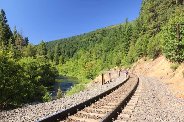 Mossbrae_Falls_159_06192016 - Returning from the Mossbrae Falls along the railroad tracks back to the Shasta Retreat and the city of Dunsmuir