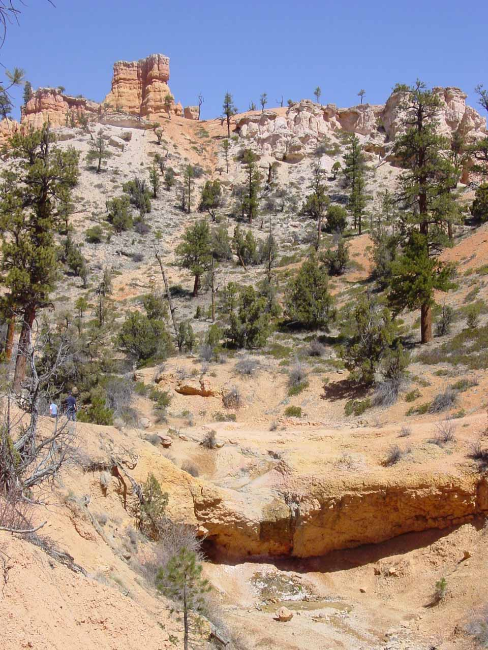 The dry Mossy Cave Waterfall before hoodoos in April 2003