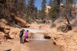 Mossy_Cave_18_096_04032018 - The kids enjoying themselves by this mini cascade just downstream of some melting snow and ice and further upstream from the Mossy Cave Waterfall as seen during our April 2018 hike