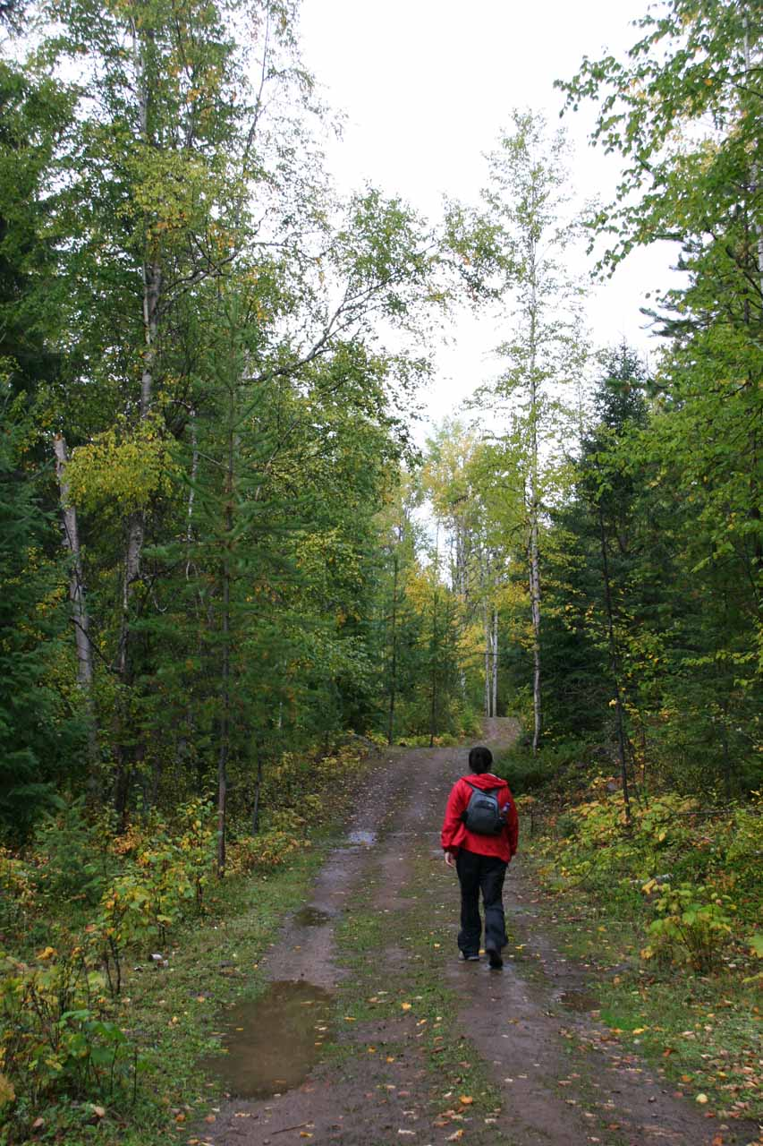 Julie on the wide trail to Moul Falls