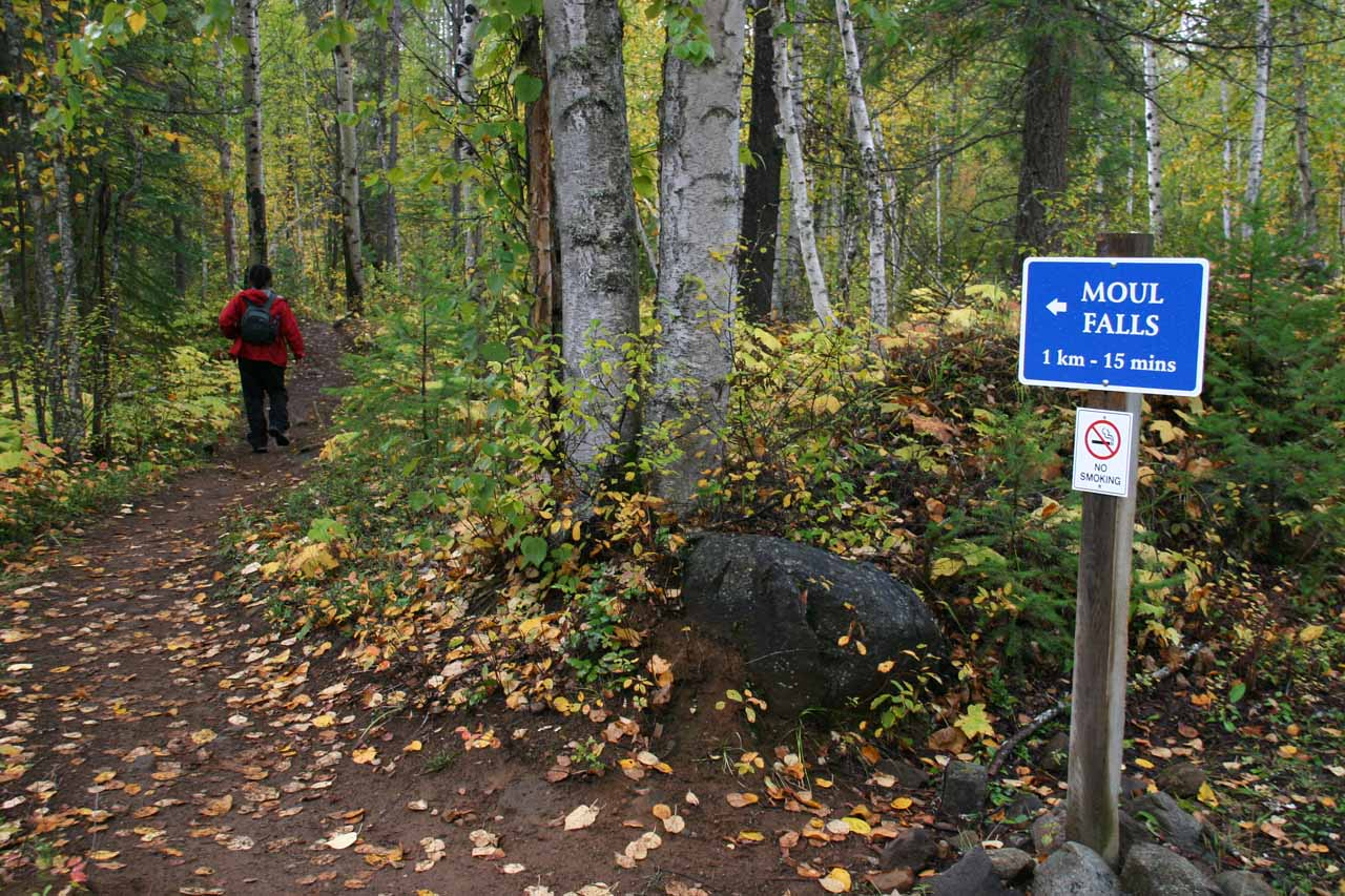 This sign claimed it was another 15 minutes to Moul Falls