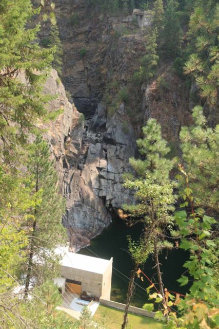 Moyie_Falls_007_08052017 - Looking down at the upper drop of the Moyie Falls, which wasn't flowing during our visit