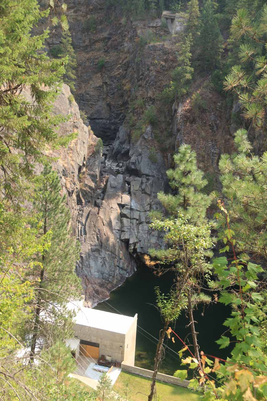 This was the view of the dry upper tier of Moyie Falls with hydro facility from the signposted lookout
