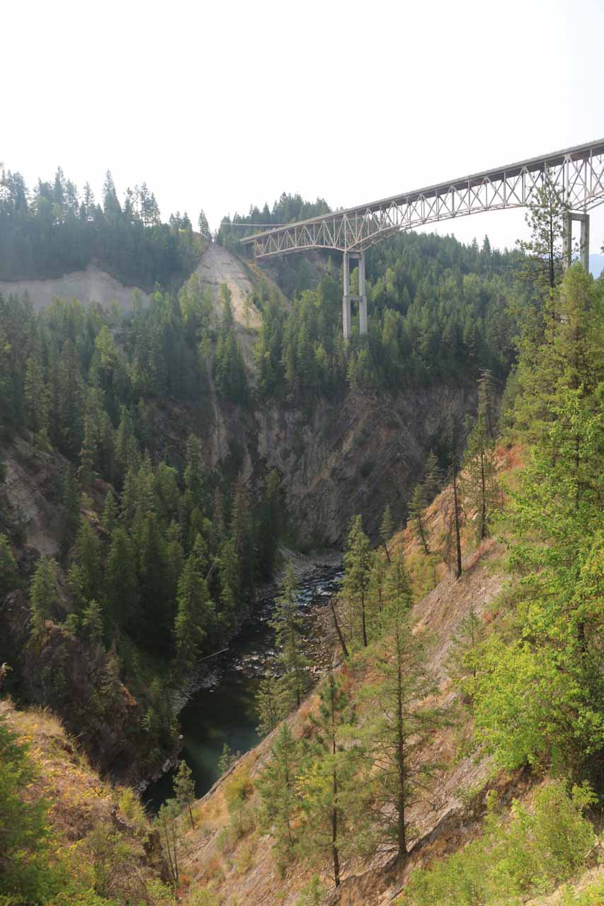 Looking downstream towards the high tressel bridge spanning the Moyie River, which was the US Hwy 2