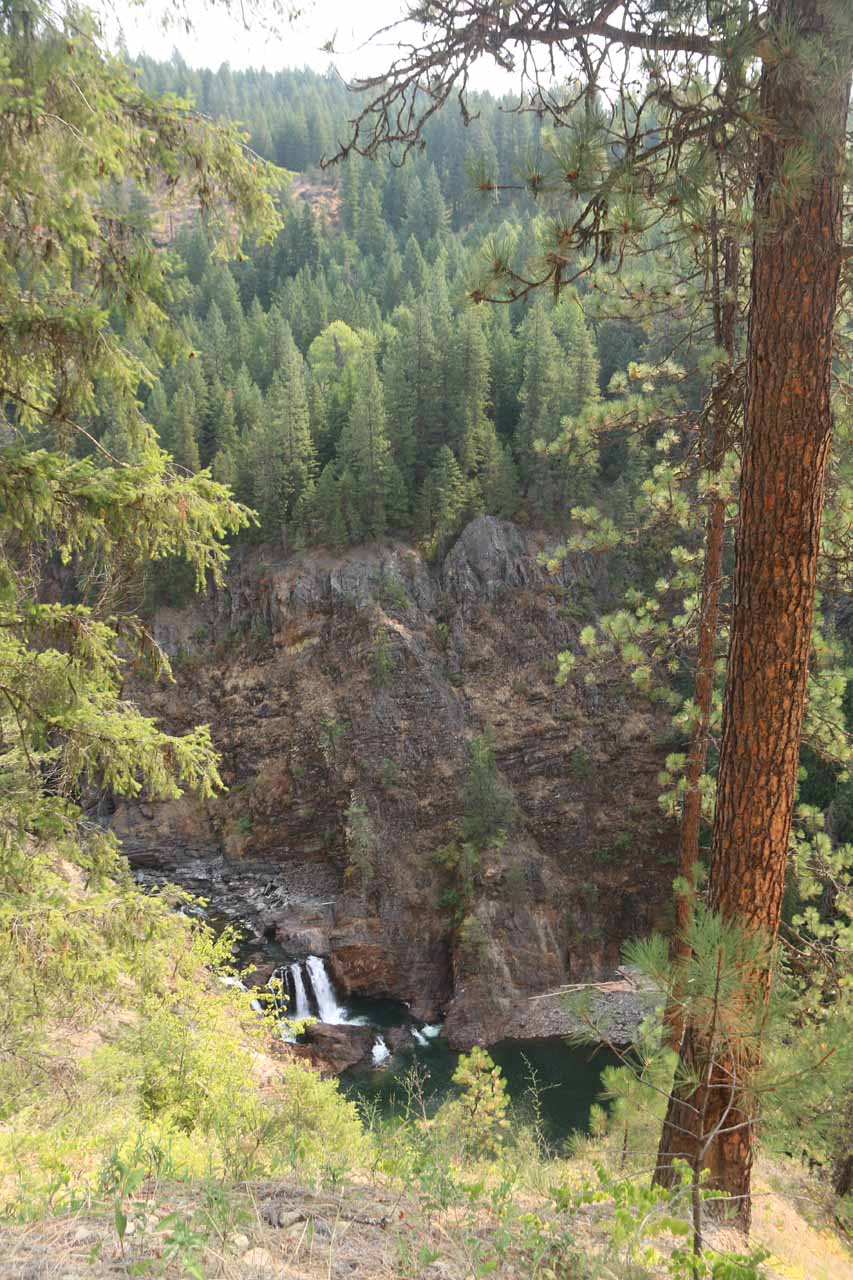 Contextual look at the lower drop of Moyie Falls after walking a little further up Canyon View Drive
