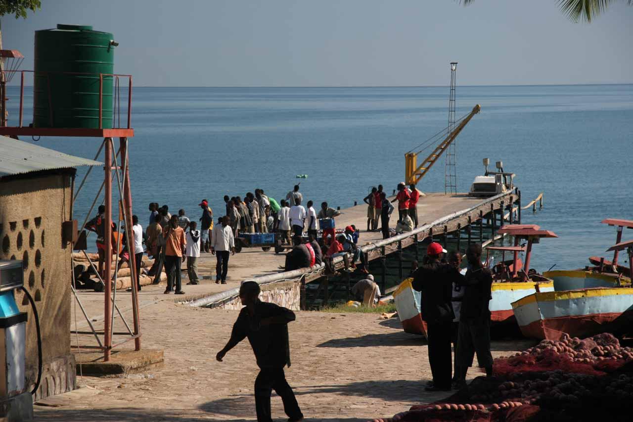 The busy pier at Mpulungu