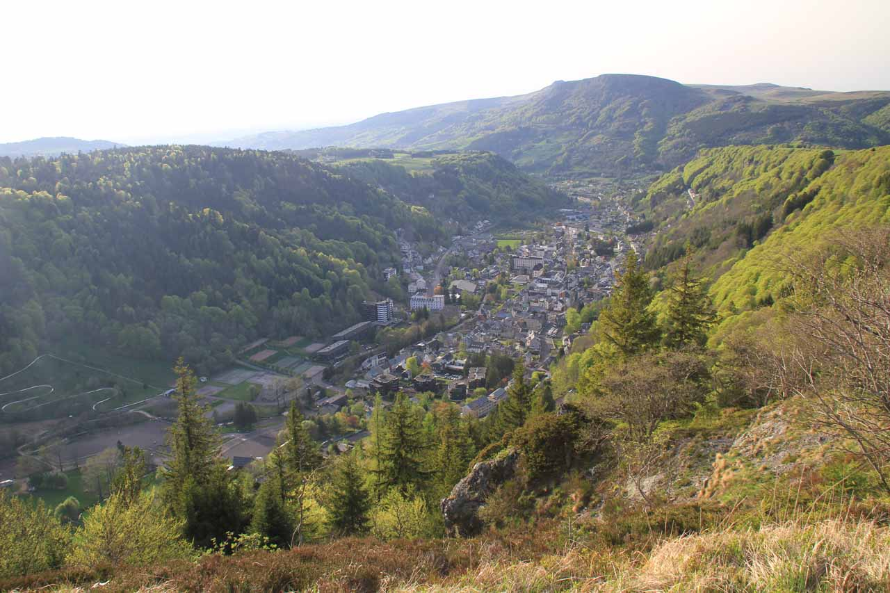 Looking down at Le Mt-Dore, the town