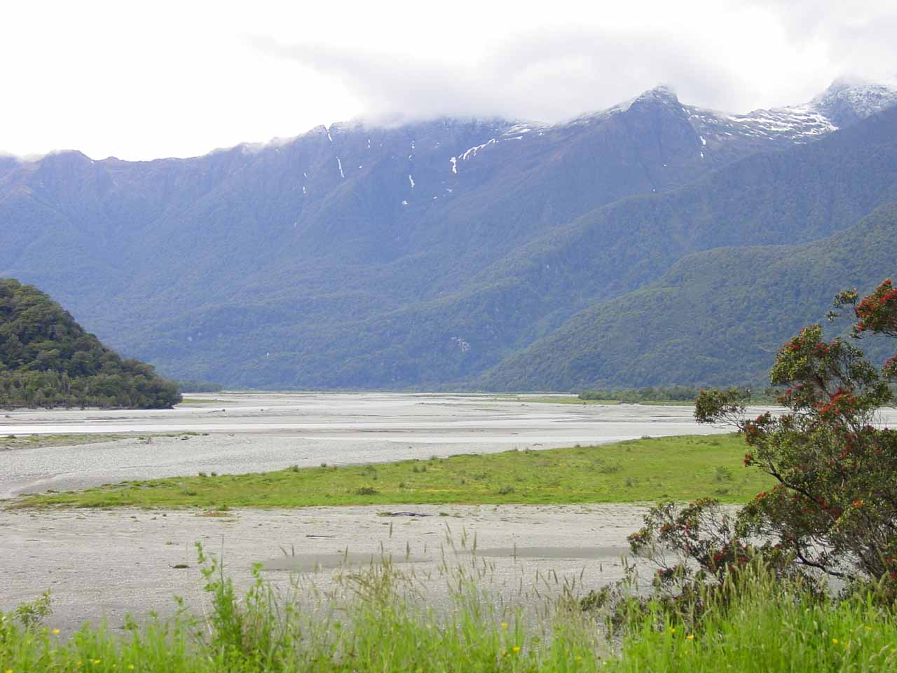 This was the view of the Haast River Valley back in 2004 as we were entering it on the way to Roaring Billy Falls (among other waterfalls here)