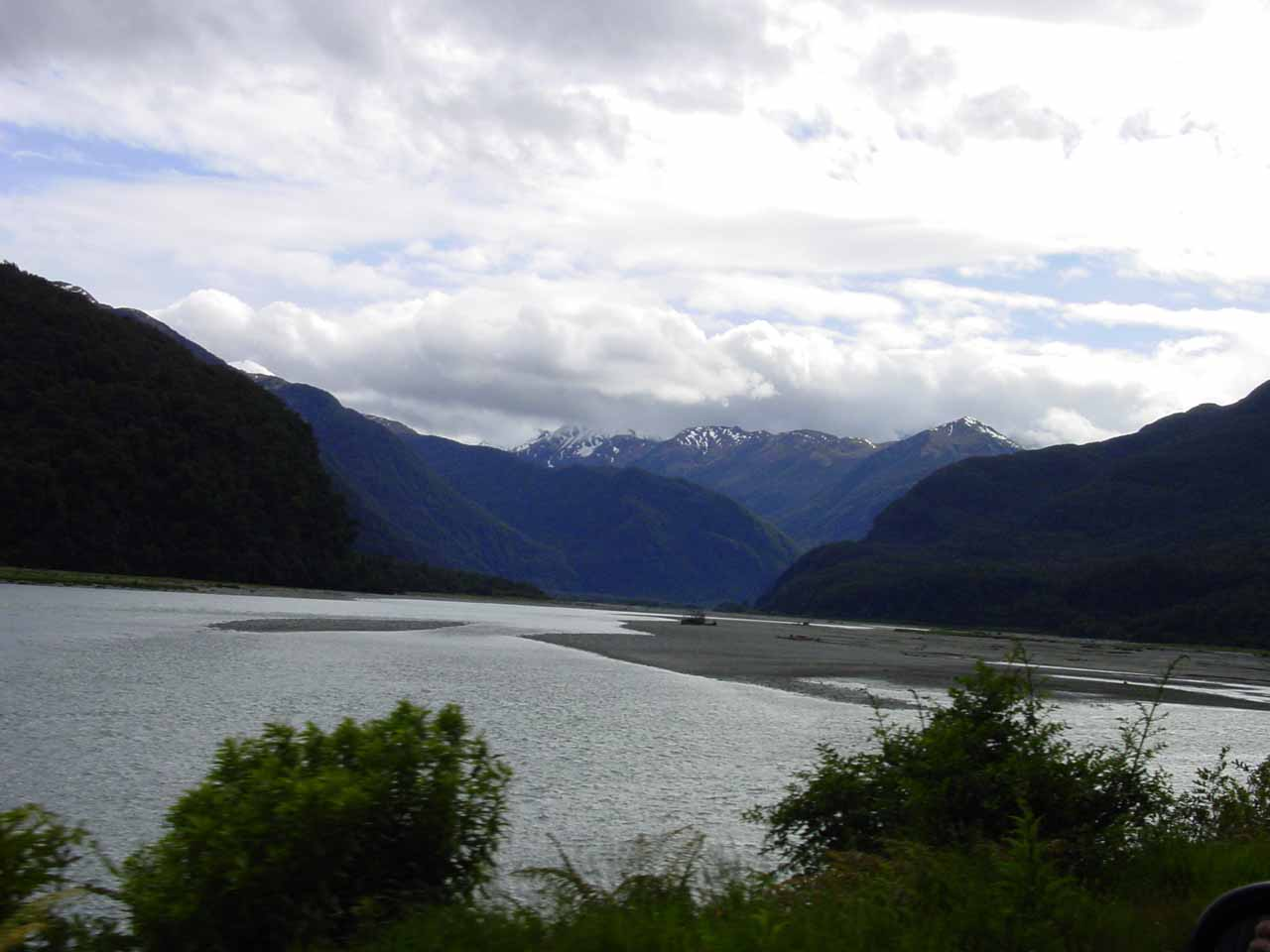 Looking into the Haast River Valley from the highway