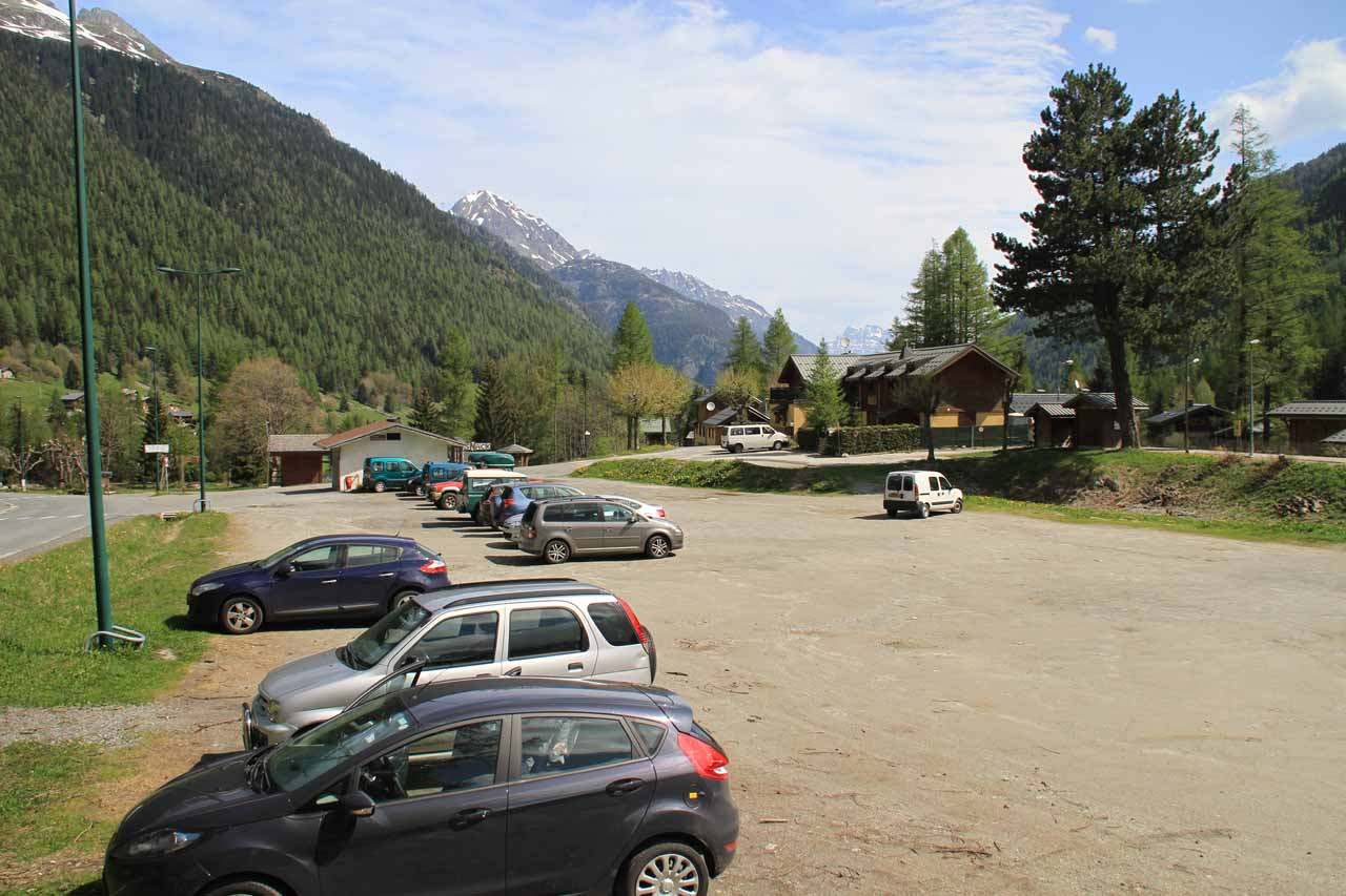 The car park at Le Buet Train Station
