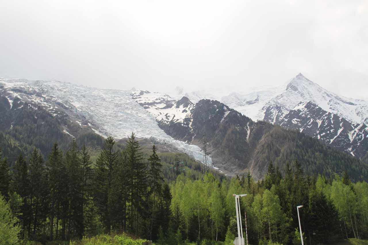 An impressive glacier near the town of Chamonix-Mont-Blanc