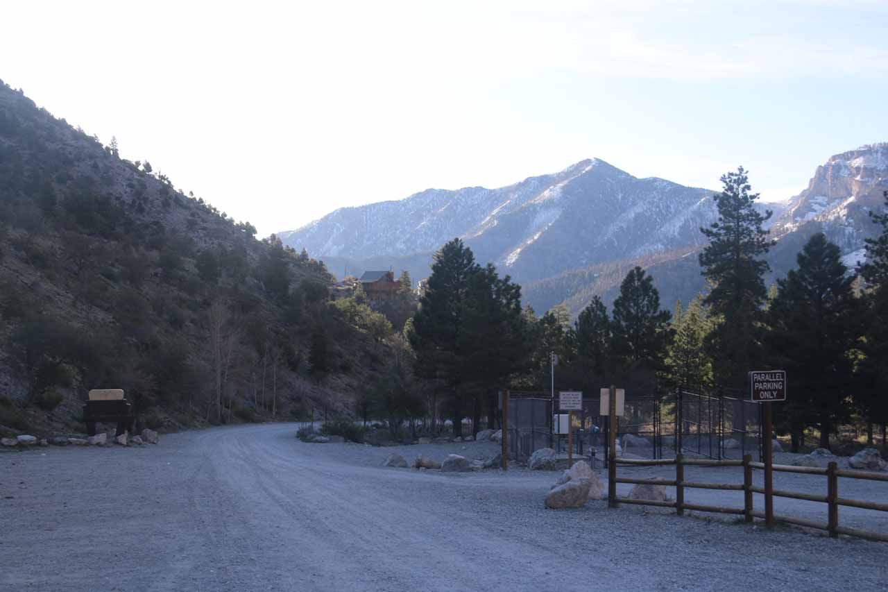 This was the mostly empty parking lot for Mary Jane Falls Trail when I got started at 7:15am