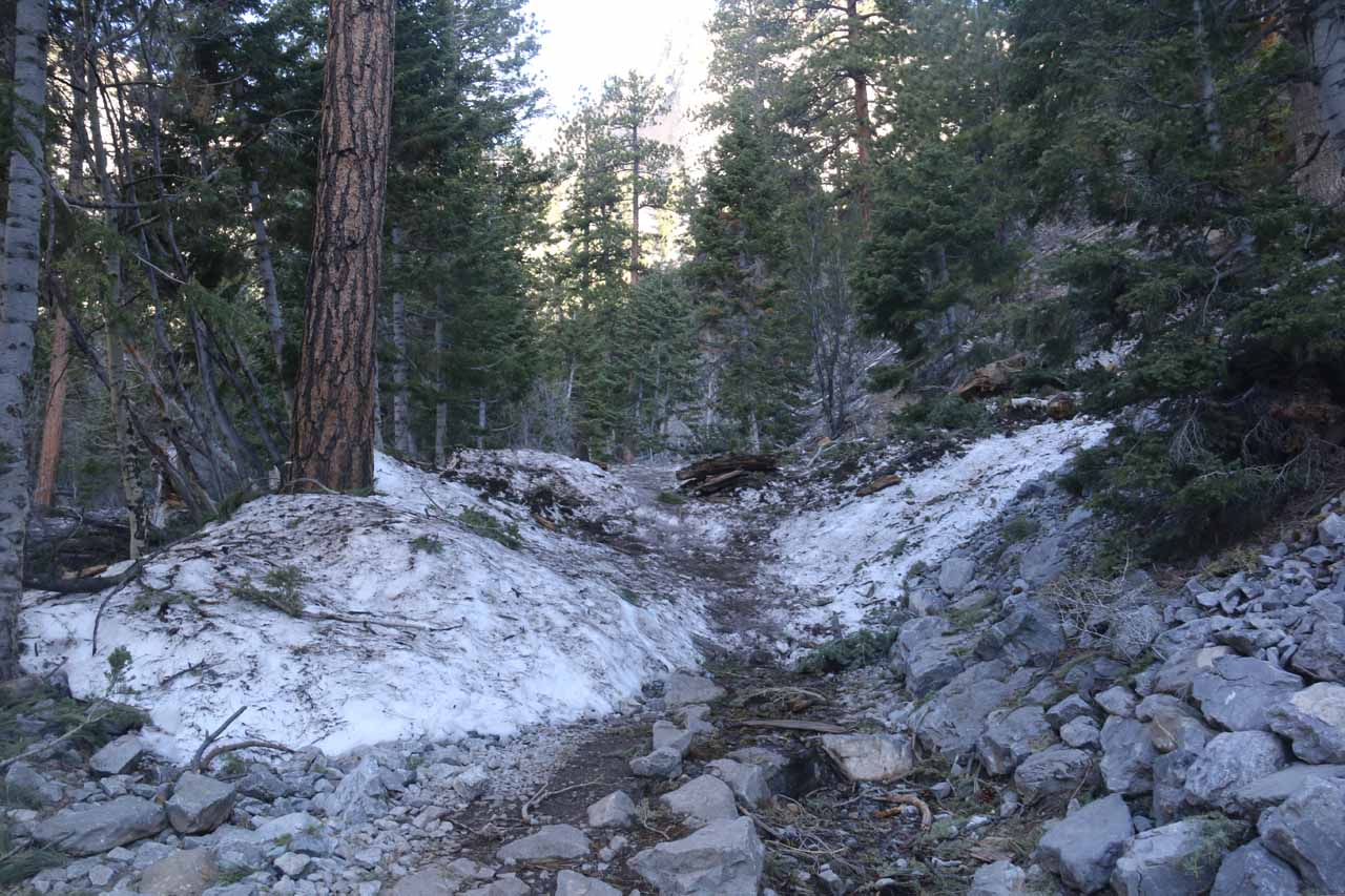 In late April 2017, there was still some patches of snow covering parts of the Mary Jane Falls Trail