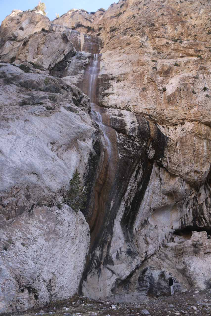 Looking directly up at the main and most voluminous segment of Mary Jane Falls