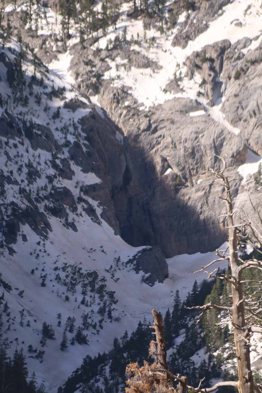 I believe that long pair of streaks in the shadow on the cliff wall between the snow was Big Falls. Based on this view, I opted not to extend the Mary Jane Falls hike to get closer to Big Falls
