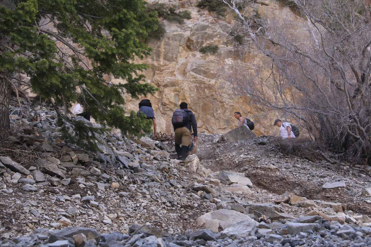 On my way back down the switchbacks, I noticed these folks taking one of the false shortcuts. As you can see, it wasn't any faster as they were initially ahead of the folks on the correct trail, but their scramble took longer than they expected