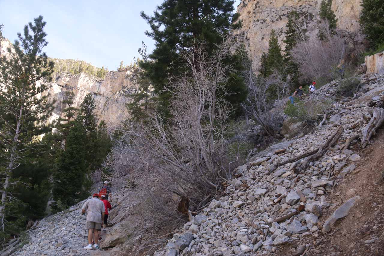 Looking back at some more folks going up the many switchbacks to get up to Mary Jane Falls