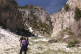 Mt_Charleston_325_04222017 - I wasn't alone on this scramble as I eventually caught up to this trio of folks at the start of the snow field, who might have been just as lost as I was and decided to pursue the 'Medium Falls'