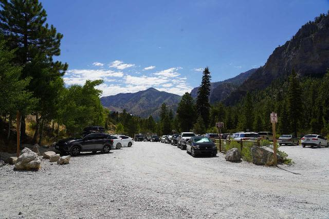 Mt_Charleston_378_08112020 - Looking back at the very busy trailhead parking lot for the Mary Jane Falls and Big Falls hike when I came back after completing them in August 2020