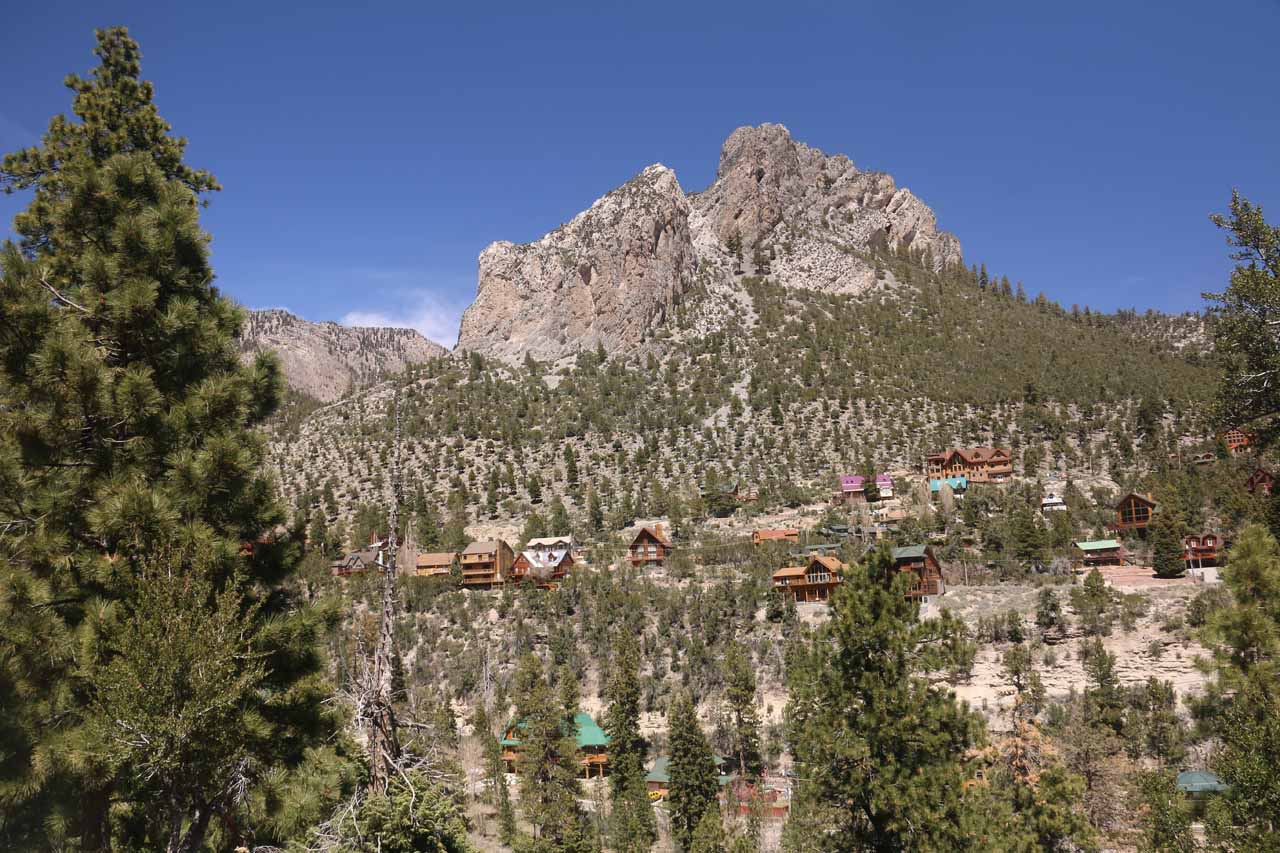 I believe the rock formation across Kyle Canyon was the Cockscomb Ridge, and the chalets of Mt Charleston below it gives a sense of scale of how imposing it was