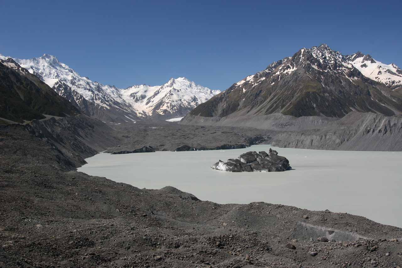 On the unsealed Tasman Valley Road, we ultimately would arrive at this view of the Tasman Glacier, which was actually a dirty glacier that was deceptively dangerous since it looked like normal ground