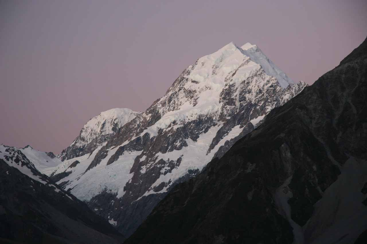 The very reason we went to Mt Cook Village (near Wakefield Falls) was to see Mt Cook itself shown here under purple skies after sunset from our window at the Hermitage