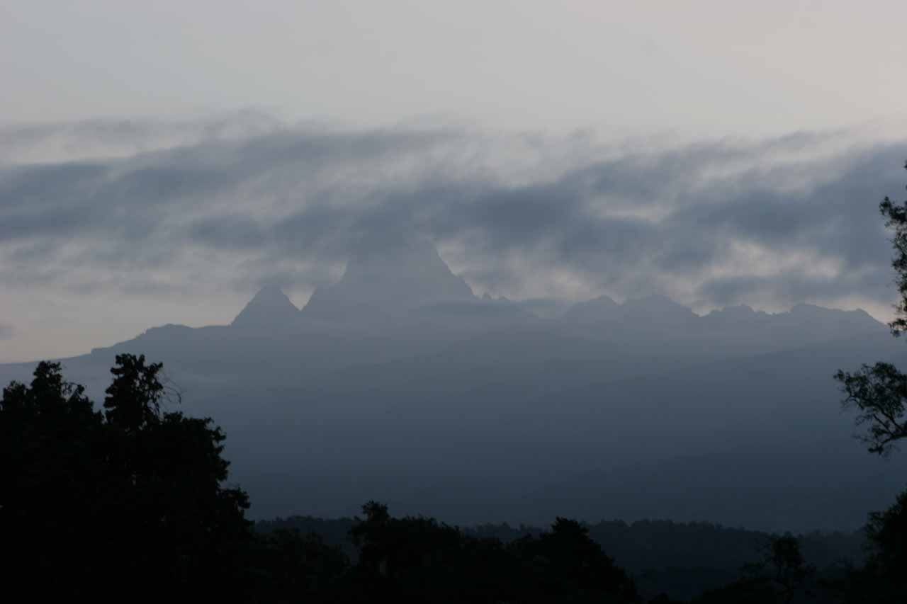 The only time the skies revealed the very top of Mt Kenya