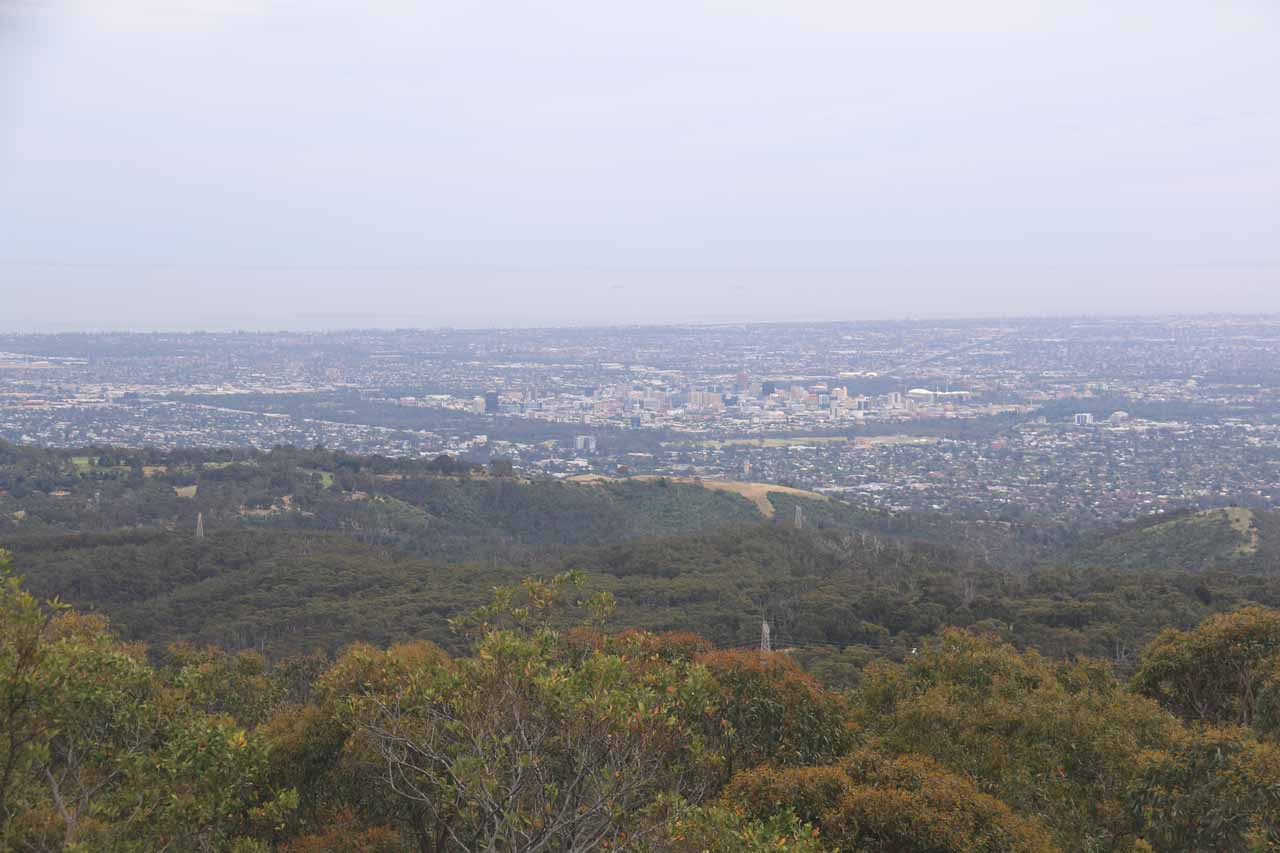 Morialta Conservation Park was part of the Adelaide Hills, which also encompassed Mt Lofty. The summit of that mountain revealed a nice panorama of Adelaide looking towards the Southern Ocean