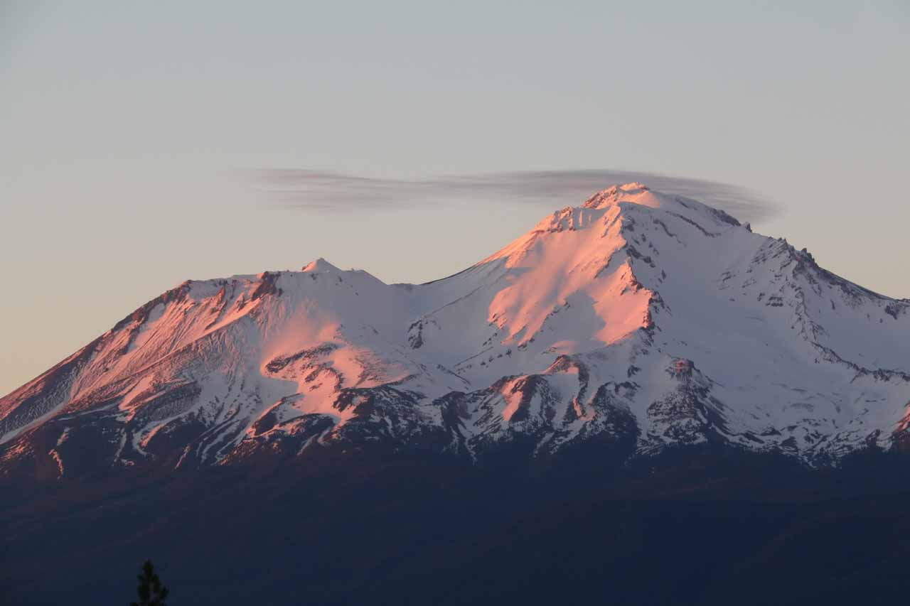 After making our visit to the McCloud Falls, we drove another 30 minutes back towards the town of Mt Shasta, where we lingered around until we were able to get this view at sunset near Crystal Lake