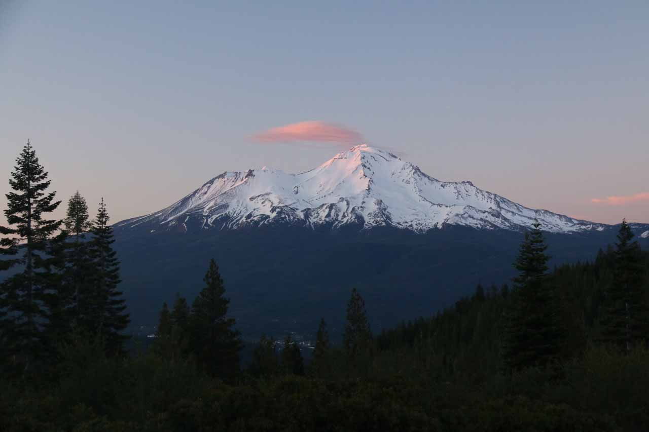 Of course we didn't necessarily have to put our SUV through the wringer to get to the Clear Creek Trailhead as this view of Mt Shasta at sunset was from a road leading to Crystal Lake