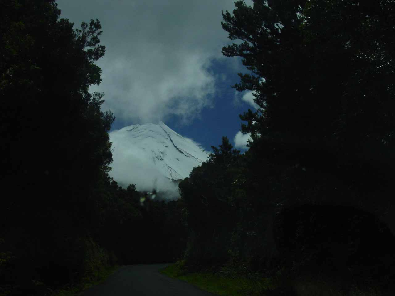 During the drive up Manaia Rd, we could see parts of the snowy peak of Mt Taranaki in November 2004