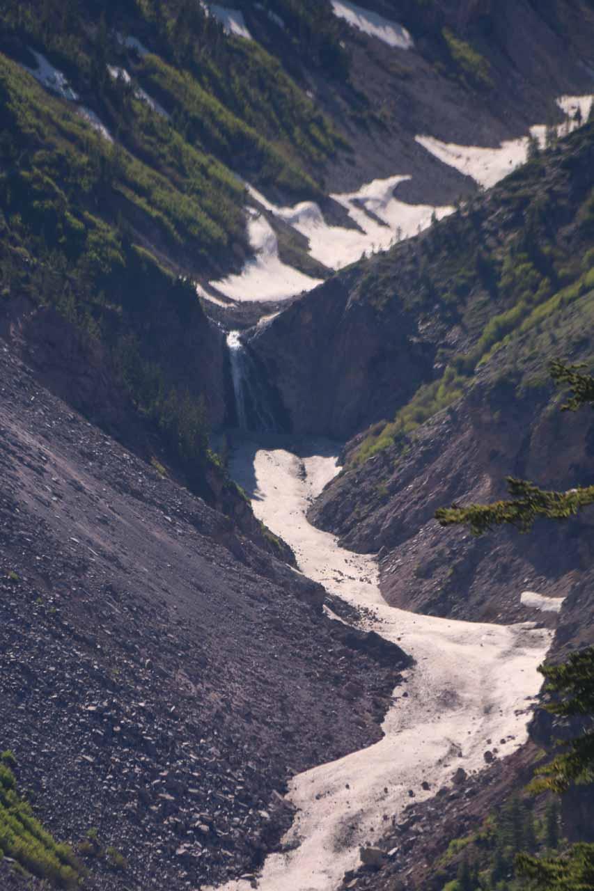 Looking across the deep canyons towards Mud Creek Falls