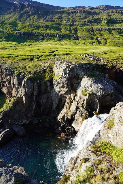 Mulafoss_056_08092021 - Looking down across a waterfall just upstream of the main drop of Múlafoss