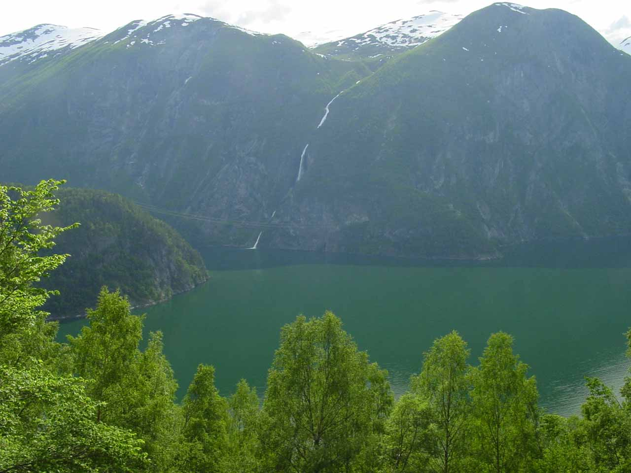 Looking across Tafjorden towards what I think is 'Slufsafossen'. This was seen from high up the trail to Muldalsfossen