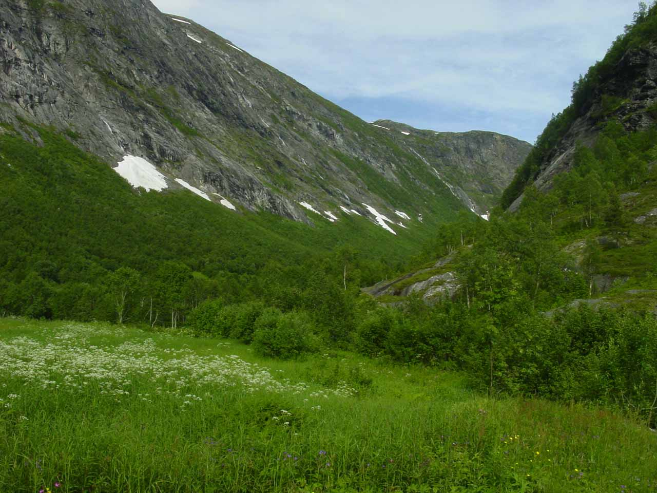 Looking into the valley beyond the houses of Muldal at the top of Muldalsfossen