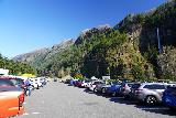 Multnomah_Falls_002_04052021 - The busy parking area between the I-84 westbound and eastbound lanes