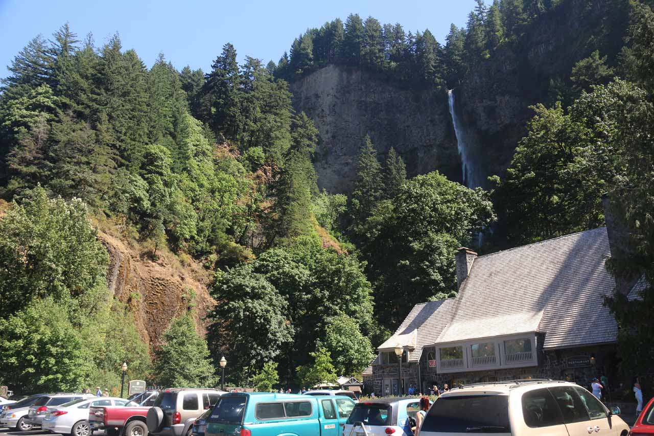 Looking over the parking lot towards the historic lodge and the Multnomah Falls