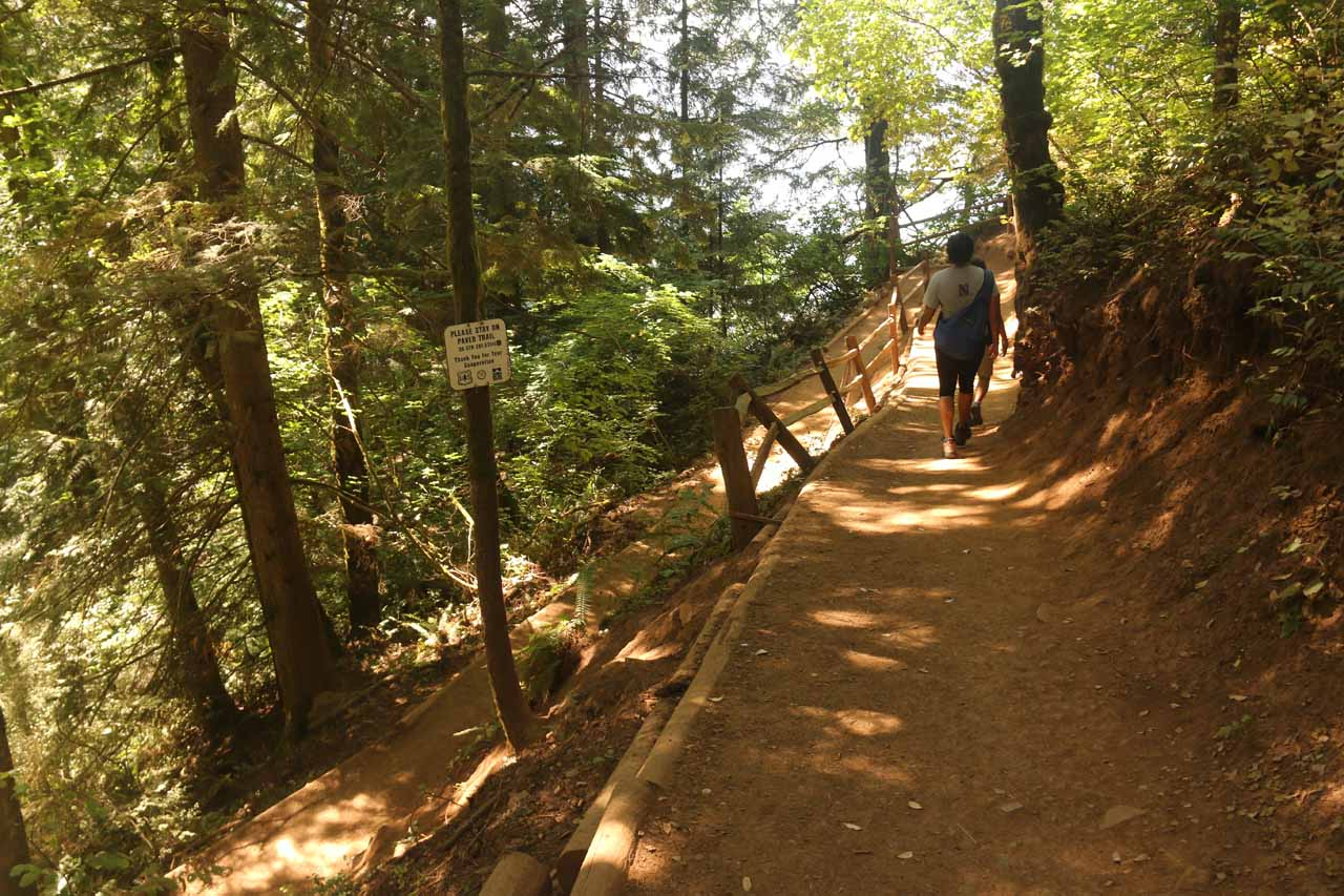 This was the spur trail leading down to the top of Multnomah Falls. By this point, the trail had descended a couple of switchbacks