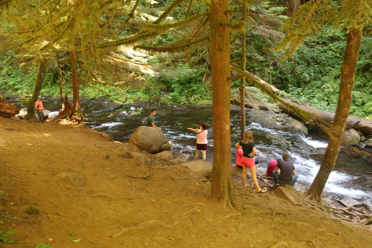 Looking towards the area upstream of Multnomah Falls where people were enjoying themselves alongside Multnomah Creek