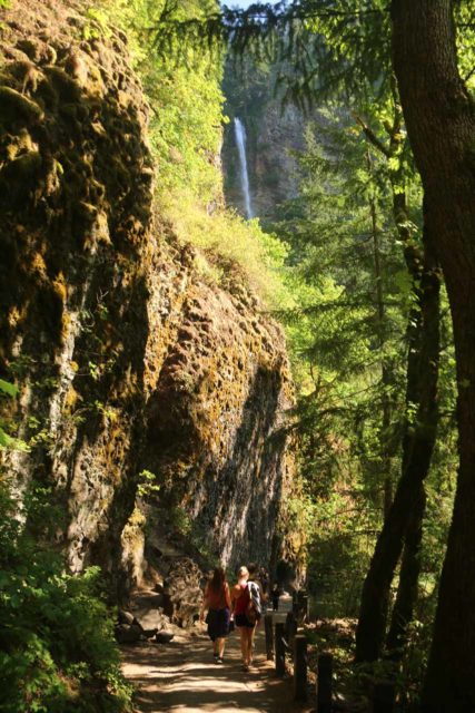 Multnomah_Falls_17_092_08162017 - Making quick progress on the downhill hike to return to the bottom of Multnomah Falls after having been to its top. Note that the verticall cliffs here hinted at the geology necessary to give rise to the waterfall
