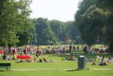 Munich_663_06302018 - Looking towards a large crowd of people sunbathing and overall just chillaxing in the Englischer Garten