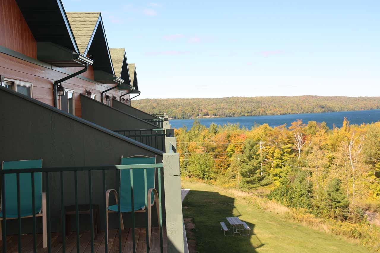 Looking along the Holiday Inn balconies towards part of Lake Michigan