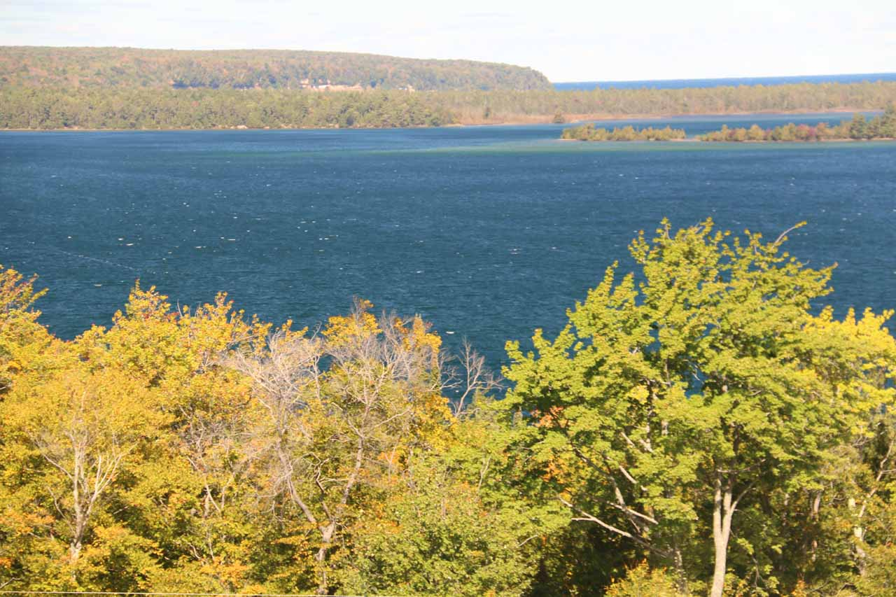 Another look towards Lake Superior from our room on the western side of Munising><br clear=