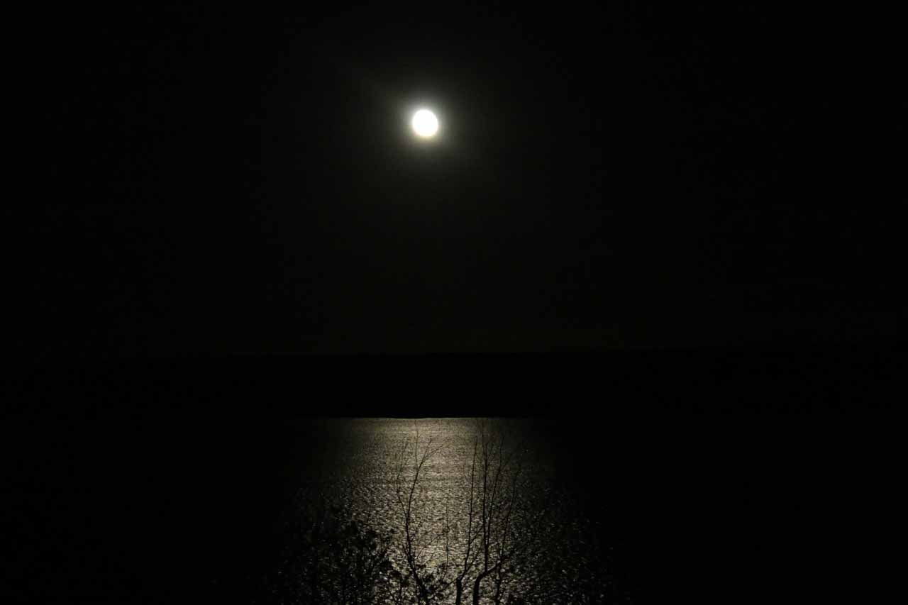 Full moon over Lake Superior as seen from the Holiday Inn Express in Munising