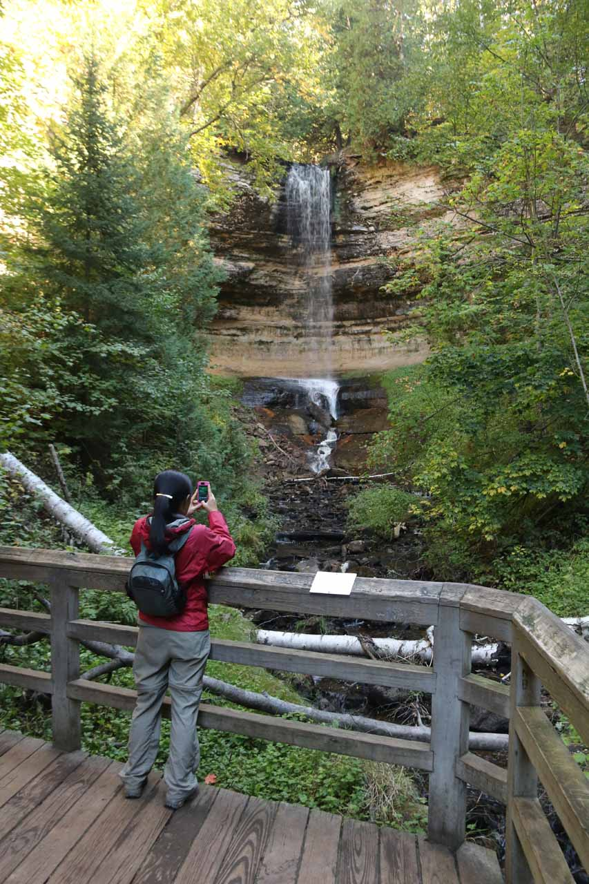 Julie at the main lookout checking out Munising Falls