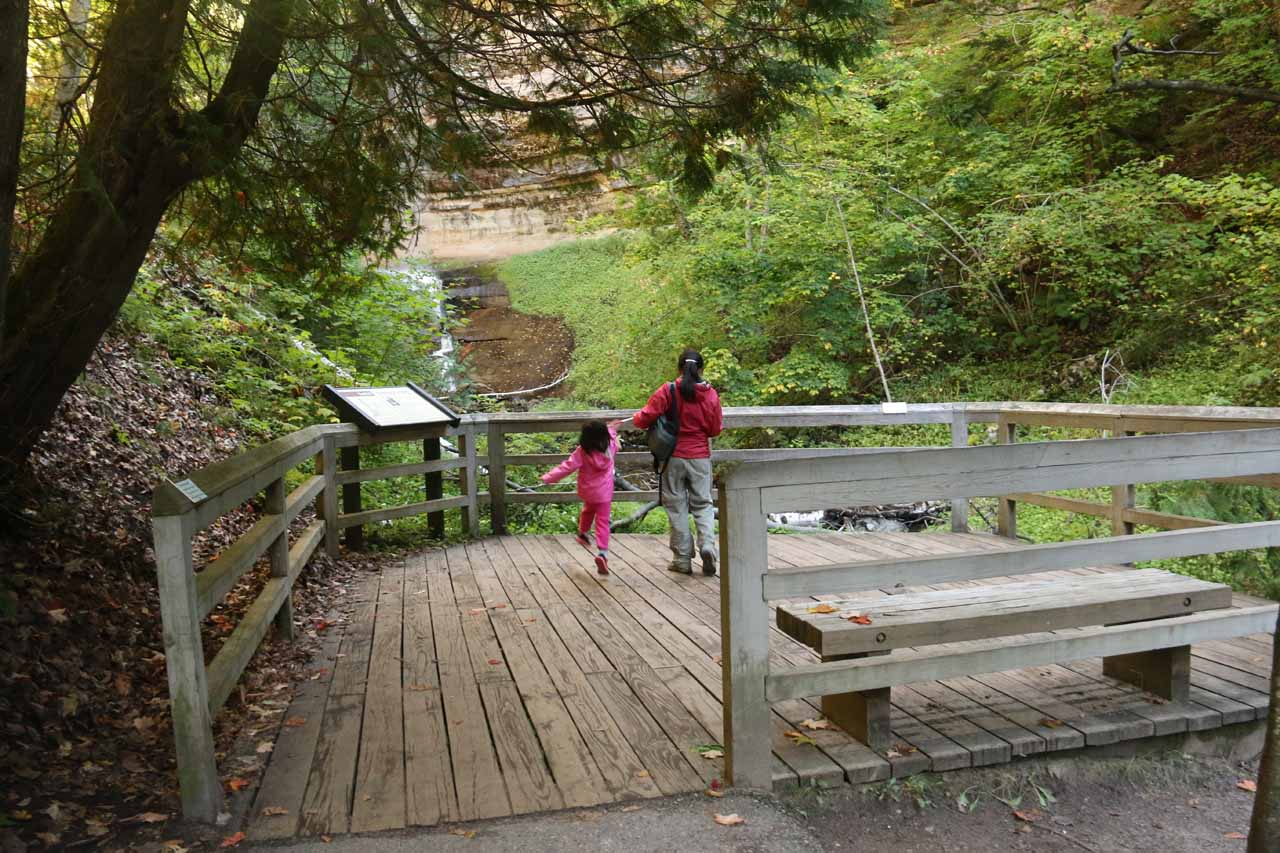 Julie and Tahia on the main lookout for Munising Falls