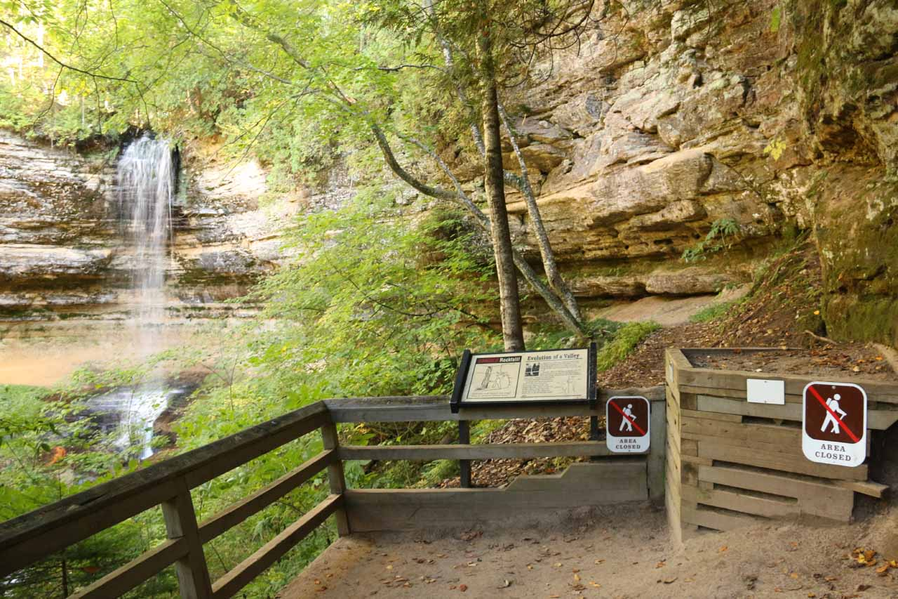 Context of the dead-end where further progress leading to the back of Munising Falls was prohibited