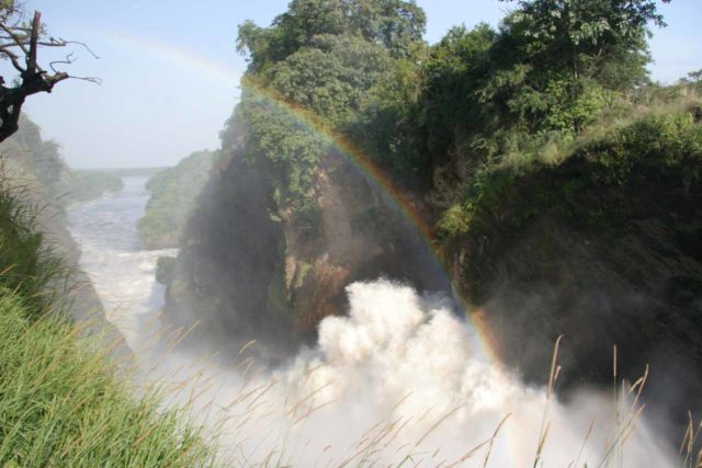 Murchison_Falls_301_06142008 - The churn of the Devil's Cauldron produced a bold bright morning rainbow over the Murchison Falls